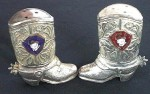 Silver boot salt and pepper shakers